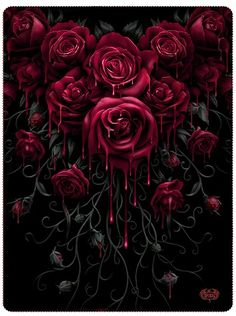 """Blood Rose"" Fleece Blanket by Spiral USA (Black)"