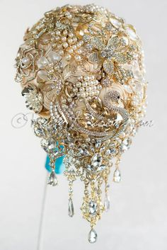 Rose gold wedding cascading brooch bouquet Malibu Sand