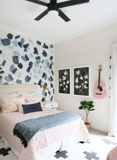 A playful and pattern-filled pre-teen& bedroom - Sunny Circle Studio Playful Pink, Black and Blue Pre-Teen Girls Bedroom Preteen Bedroom, Teenage Girl Bedrooms, Girls Bedroom Blue, Modern Teen Bedrooms, Teen Girl Bedding, Tween Girl Bedroom Ideas, Teen Bedroom Colors, Teen Girl Decor, Girl Bedroom Walls