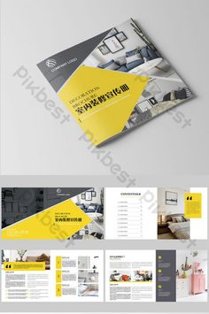 Simple style decoration company interior design Brochure design Company Brochure Design, Brochure Cover Design, Graphic Design Brochure, Corporate Brochure Design, Creative Brochure, Book Design Templates, Indesign Templates, Layout Template, Brochure Format