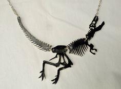 TRex Skeleton Necklace by AfterNowCrafts on Etsy, $15.00