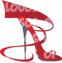 Vector Clipart of a Red Ribbon and High Heel Shoe Logo by Eugene ...