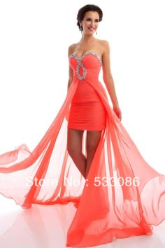 Best Selling 2013 Beading Ruched Sweetheart Orange White Royal Blue Cheap Chiffon High Low Prom Dress Girl Graduation Dresses