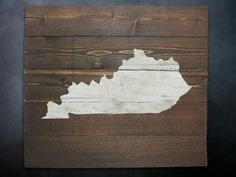 Rustic Kentucky Map Whitewash Wall Art by RusticPost on Etsy, $34.99-Make for the basement?