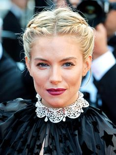 When a fishtail doesn't seem formal enough, turn to this twisted plait from Sienna Miller. It's just two french braids running back toward the nape that end in a chic chignon. 2015 Hairstyles, Holiday Hairstyles, Celebrity Hairstyles, Braided Hairstyles, Cool Hairstyles, Braided Updo, Hairstyle Photos, Wedding Hairstyles, Two French Braids