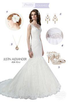 Bridal Style Inspiration: Pretty Polished — featuring wedding dress by Justin Alexander   Wedding Inspirasi