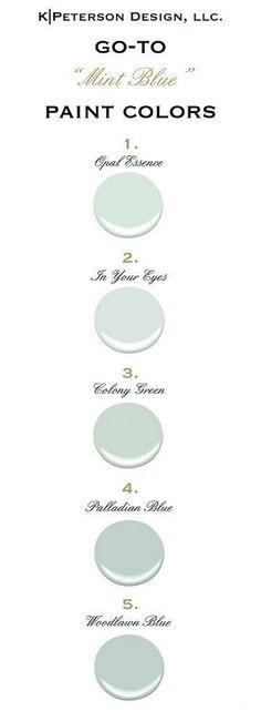 Mint Blue Paint Color Ideas. Mint Blue Color Palette. All Paint Colors are from Benjamin Moore. #ColorPalette #BenjaminMooreColorPalette Via kpetersondesign