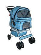 Classic Blue Grid 4 Wheel Pet Stroller