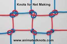 Knots for net-making:  Upper knot - Carrick bend.  Lower knot - Sheet bend.  #knotting
