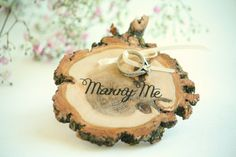 Marry Me Ring Pillow - Outdoor wedding ring pillow - Ring Bearer - Rustic Ring Pillow - Garden ring pillow - www.LittleWeeShop.etsy.com