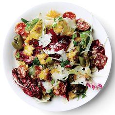 Radicchio, Fennel, and Olive Panzanella - the combo of radicchio, fennel, parsley, salami. dressing of shallot, lemon, vinegar, oregano...yum!