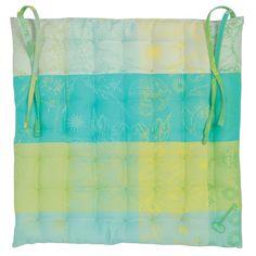 Galette de chaise collection printemps été 2016 par Garnier-Thiebaut - Modèle : Mille alcees - Galette de chaise 100% coton enduit - Coloris : bleu, jaune et vert