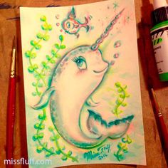 A baby narwhal! ✨ Watercolor drawing. I cannot believe these magical beings really exist! ✨ Original Art by Claudette Barjoud, a.k.a Miss Fluff. www.missfluff.com #missfluff #narwhal #narwhalart #whaleart #kawaii