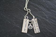 Friendship Necklace . Best Friend Jewelry . Maid of Honor Gift . Friendship Jewelry . Handstamped Jewelry . Swarovski Birthstone