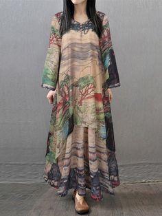 Gracila Vintage Printed Layered V-neck Long Sleeve Women Maxi Dresses
