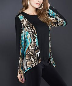 Loving this Black Abstract Color Block Sidetail Top on #zulily! #zulilyfinds