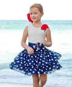 Another great find on #zulily! Navy Polka Dot Tiered Dress - Toddler & Girls #zulilyfinds