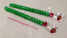 The Very Hungry Caterpillar party lolly bags. Brilliant tutorial and ideas at whoismim.blogspot.com.au