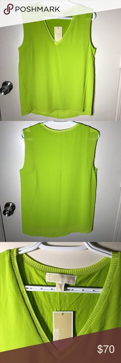🎄NWT Michael Kors🎄 Green Tank Top Beautiful flowy tank top. Brand new with tags. Offers welcome🌟 MICHAEL Michael Kors Tops Tank Tops