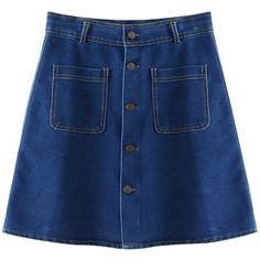 Chicnova Fashion High Waisted Denim Skirt ($17) ❤ liked on Polyvore featuring skirts, bottoms, denim skirts, high rise skirts, knee length denim skirt, blue denim skirt, high waisted knee length skirt and blue skirt