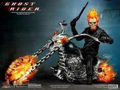 Ghost Rider Movie Hot Toys Ghost Rider With Hell Cycle 1/6 Scale Collect...