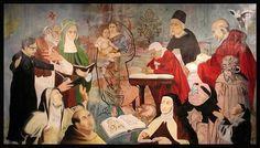 Los teólogos sagrados:Papa Benedicto XVI en plegaria. Óleo sobre lienzo 2008. Alfredo Villanueva.The National Museum of Catholic Art and history New York.