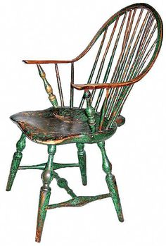 antique furniture Braced Back, Continuous-Arm Windsor Chair Love the patina on this chair! Old Chairs, Antique Chairs, Eames Chairs, Vintage Chairs, Pink Chairs, Wooden Chairs, Lounge Chairs, Antique Furniture For Sale, Primitive Furniture