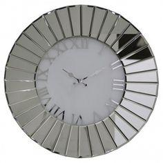 Durham Oversized Round Mirror Wall Clock Canora Grey Size: H x W Mirror Wall Clock, Wall Clock Design, Wall Clocks, Oversized Round Mirror, Round Mirrors, Shabby Chic Clock, French Clock, Diamond Wall, Mantel Clocks