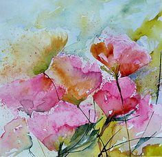 Fragiles (veroniquepiaser-moyen) Tags: flowers flower art fleur rose fleurs watercolor painting artwork aquarelle peinture watercolour bouquet aquarelles veroniquepiasermoyen vroniquepiaser vroniquemoyen