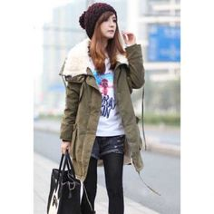 Casual Style Loose-Fitting Lover Style Wool Fur Inside Long Sleeves Cotton Blend Women's Coat.