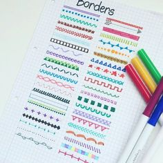 Need some bullet journal inspiration? 🖍️Discover 279 collection ideas for your bullet journal. Get the most out of your bullet journal by tracking everything from finance to habits to health and food! Bullet Journal Notes, Bullet Journal 2019, Bullet Journal Ideas Pages, Bullet Journal Dividers, Bullet Journal Headers, Borders Bullet Journal, Bullet Journal Ideas Handwriting, Bullet Journal For School, Bullet Journal Teacher