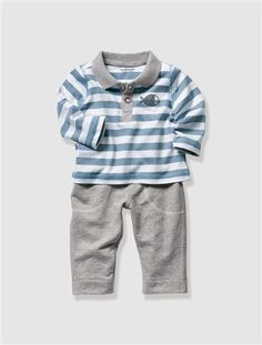 Conjunto polo + pantalón para #bebé niño.