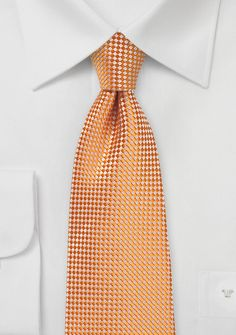 Tangerine Color Necktie with Micro Check | $10 at Cheap-Neckties.com