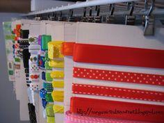 Ribbon storage.  Love the hooks from Ikea
