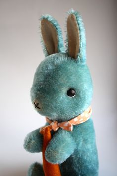 hand dyed blue mohair rabbit with carrot by foxandowl on Etsy