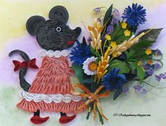 Mouse with Bouquet - quilled