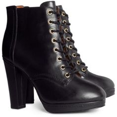 """Black Lace-up Booties Black leather lace-up platform boot from H&M premium collection (AW 2013). US Women size 6. Gold-tone hardware. Worn once; in excellent condition. Heel height is approximately 4.25"""" with a platform of approximately 0.5"""". Gold Side zipper. Shoes Ankle Boots & Booties"""
