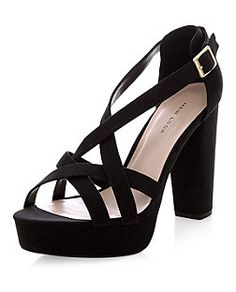 Wide Fit Black Strappy Platform Heels | New Look | shoes ...