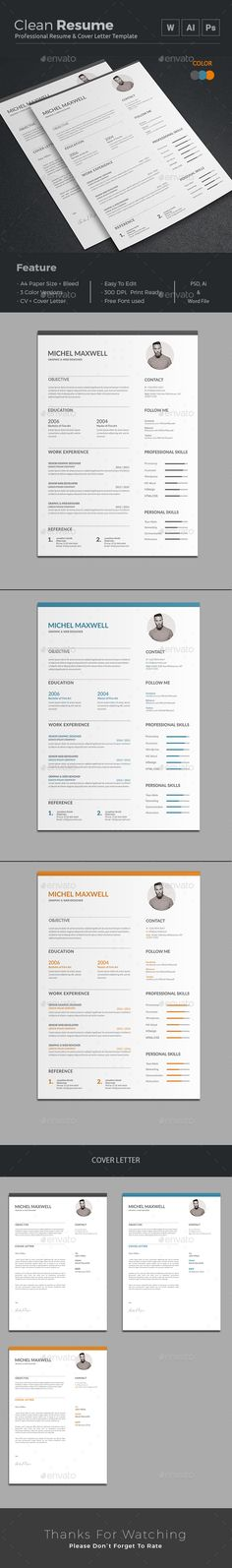 Resume Template, Cv template and Modern resume template - resume on word