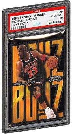 1998 Skybox Thunder Michael Jordan basketball card Noyz Boyz insert #9 PSA 10. #michaeljordan #psagraded #psacollector #chicago #chicagobulls #basketball #basketballcards #nba