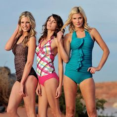 I love, love, love these swim suits. Modest, long, and CUTE. So hard to find all that in one suit.