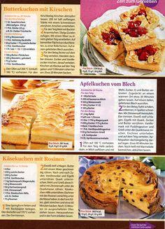 Butterkuchen mit Kirschen Apfelkuchen vom Blech Käsekuchen mit Rosinen