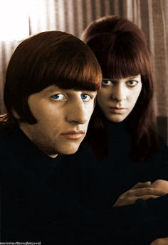 March 1965: My color edit of Ringo and Maureen in their hotel room in Austria, original photo by Henry Grossman