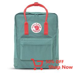 Fjallraven Kanken Backpack Mini - Frost Green With Pink Handles Kånken Rucksack, Kanken Backpack, Backpack Bags, Baby Boy, Card Companies, Thing 1, School Backpacks, Mini, Quad