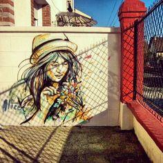 alicepasquini:    Alice Pasquini - Vitry FR  #alicepasquini #streetart #france spray #art #girl