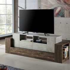 Williston Forge Algona TV Stand for TVs up to 55 inches Wood Storage, Storage Spaces, Open Shelving, Adjustable Shelving, Tv Stand Lights, Dark Grey Couches, Contemporary Tv Stands, Industrial Tv Stand, Glass Front Cabinets