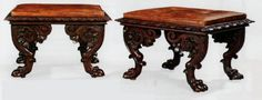 ~ An impressive pair of William IV carved mahogany large stools, c. 1840 England ~ onlinegalleries.com