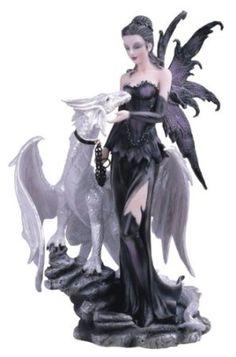 Black Fairy With White Dragon Collectible Figurine Decoration Statue