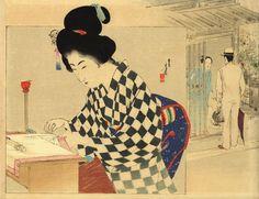 """Mizuno Toshikata (1866-1908) """"Mujer bordando"""". Publicado en """"Bungei kurabu"""" en 1898. Colección Pilar Coomonte y Nicolás Gless."""