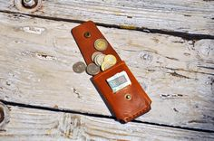 Mini wallet, minimalist wallet, leather wallet, cardholder, coins case, leather, gift by GOMAleatherwork on Etsy